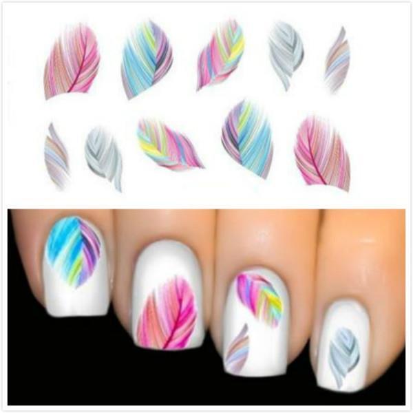 Women Beauty Feather Nail Art Water Transfer Nail Art Stickers Tips ...