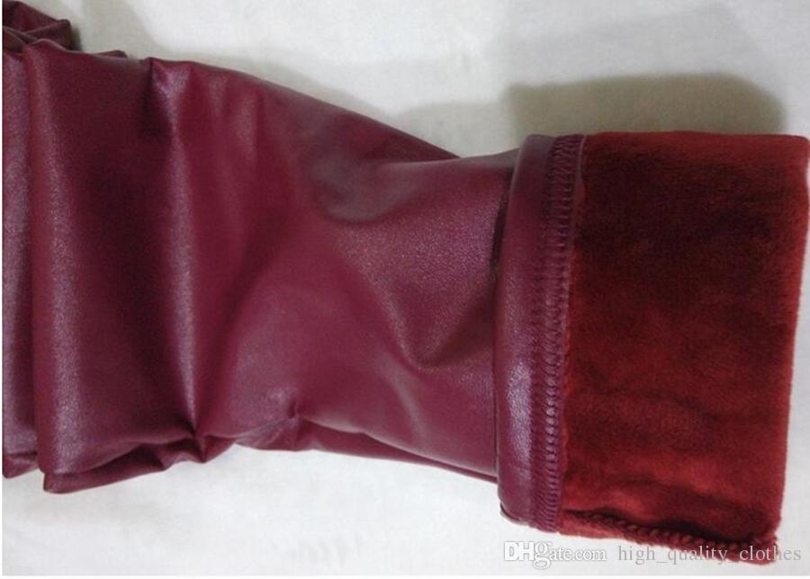 여성은 더 새로운 한 벨벳 따뜻한 겨울 쇼 얇은 탄성베이스 꽉 가죽 바지를 추가하는 한 판 버전 본격 패션. S - 2xl