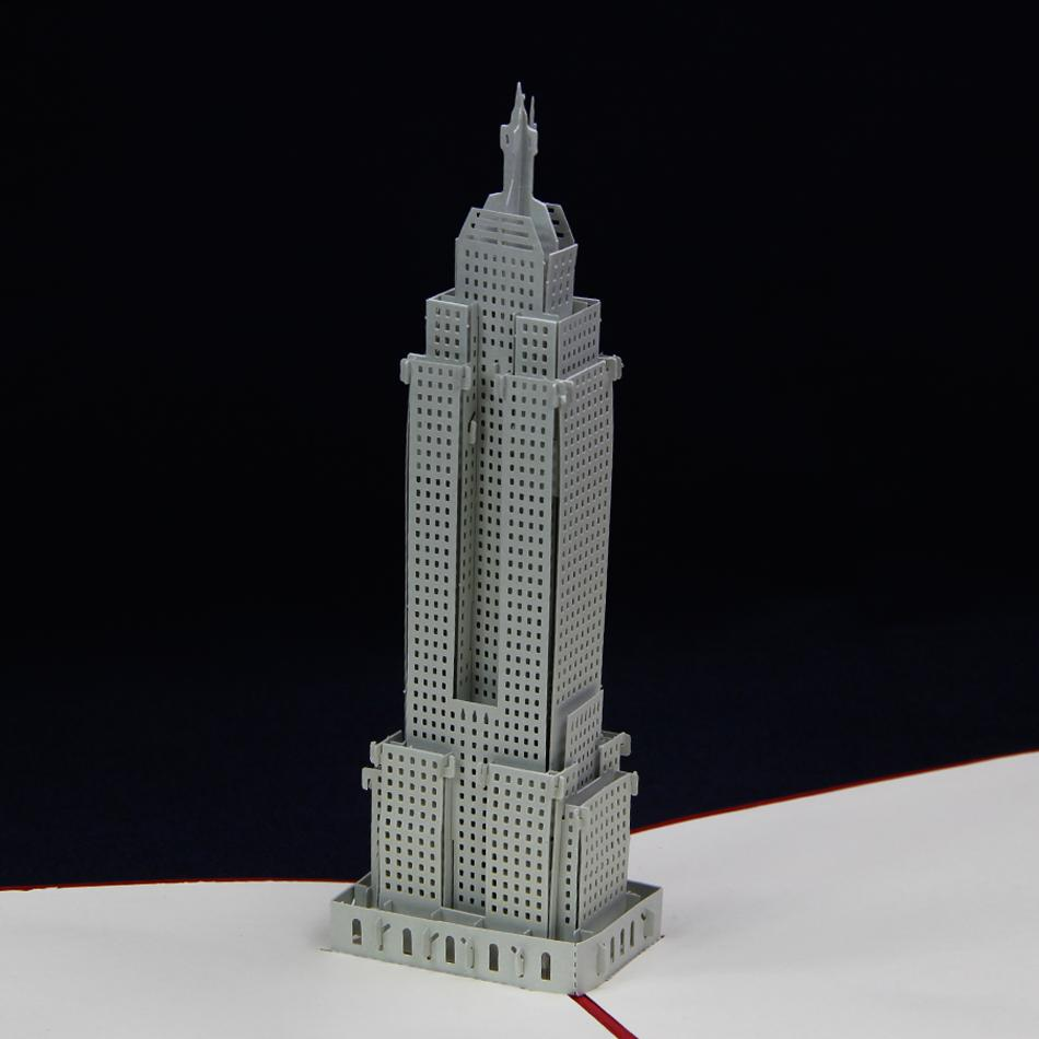 3d Empire State Building Pop Up Card Greeting Gift Card In Red