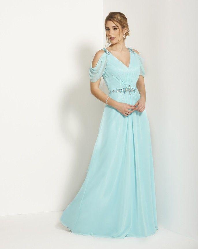 上品なAラインVネックライトブルーの母の花嫁のドレスフォーマルスーツの半袖の床の長さのブライダルパーティーガウン2015