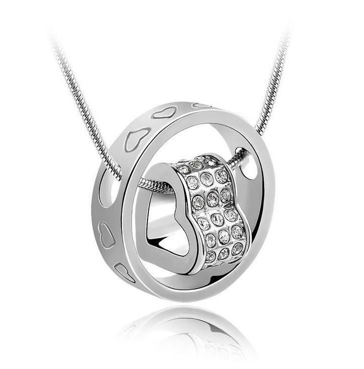 Srebrne Serce Wisiorek Naszyjniki Biżuteria Gorąca Sprzedaż Kryształowe Wisiorki Neckalce Dla Kobiet Dziewczyna Prezent Biżuteria Darmowa Wysyłka - 0005ldn
