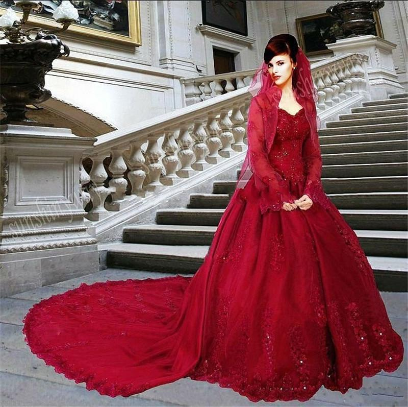 Non Traditional Red Wedding Dresses: Discount Red Muslim Arabic Wedding Dresses With Wrap 2015