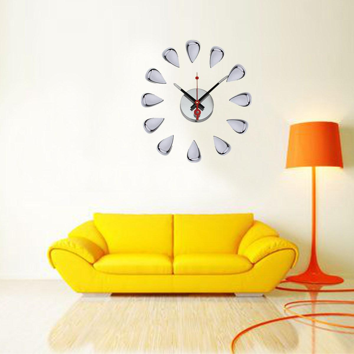 3d Diy Modern Pvc Water Drop Clock Wall Stickers Livingroom Home ...