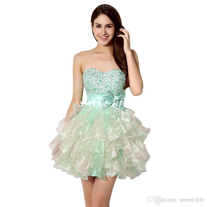 2020 Kısa Homecoming Elbise Ucuz Nane Organze Sevgiliye Boncuk Leylak Balo Parti. Mezuniyet Elbiseleri Mini Etek A Hattı Straplez