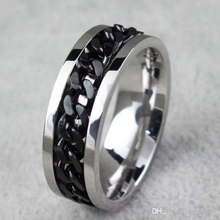 BC Jewelry Fashion Spinner Chain Ring For Men Gold & Black & Silver Stainless Steel Chain Wholesale Mens Jewelry BC-0069