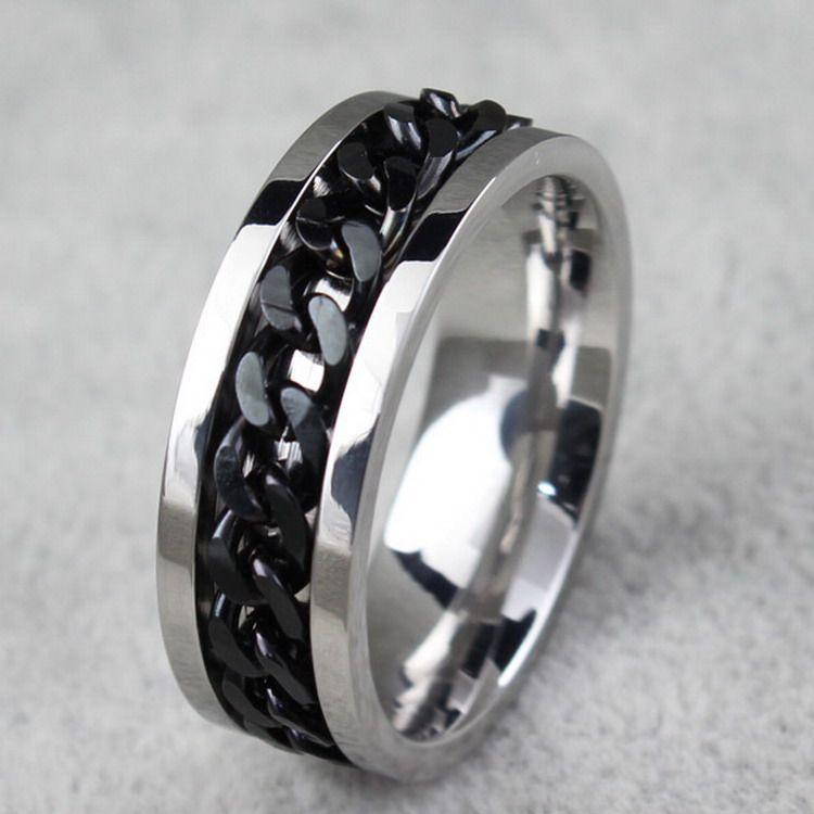 BC Jewelry Fashion Spinner Kettenring für Männer Gold Schwarz Silber Edelstahl Kette Großhandel Herren Schmuck BC-0069