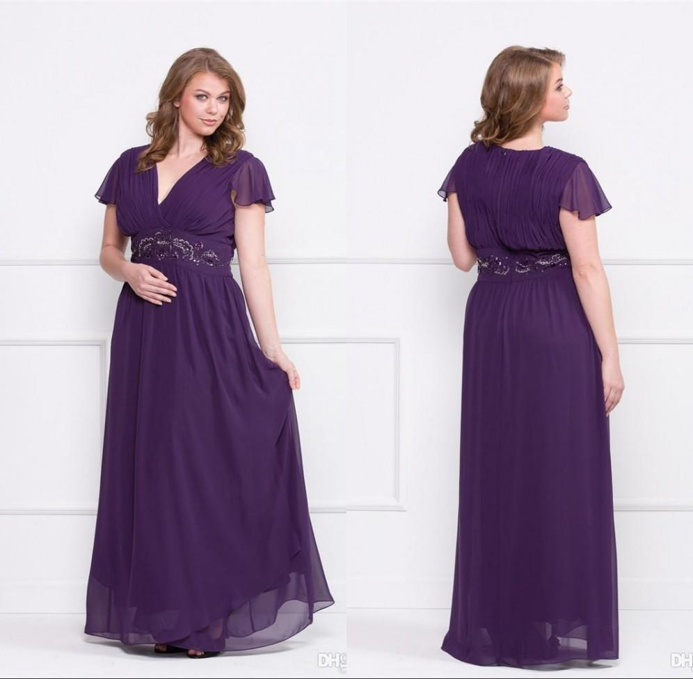 Plus Size Mother Bride Dresses: Purple 2015 Plus Size Mother Of Bride Dresses A Line V