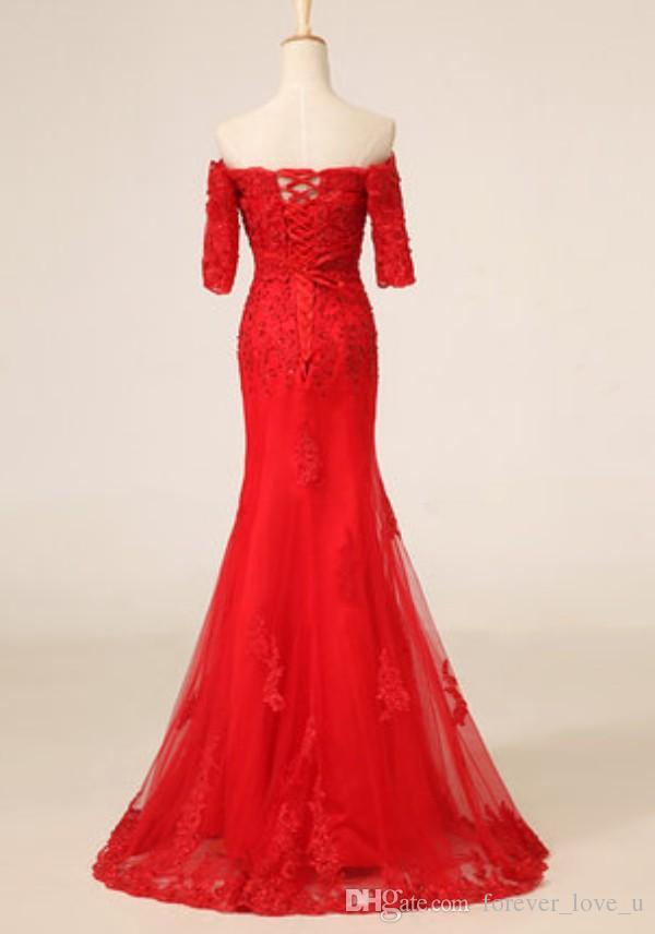 فستان أحمر رائع قبالة الكتف نصف كم الصينية فساتين حفلة موسيقية شيونغسام الدانتيل متابعة قطار الاجتياح الدانتيل وتول مع يزين