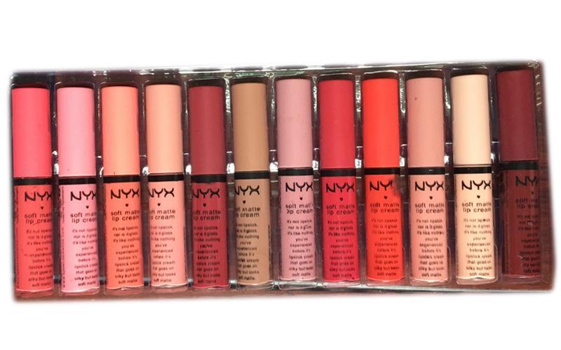 1lot==NYX Makeup Lip Gloss Set Merry Christmas Velvet Matte Lip Glaze Rose Flower Liquid Lipstick Brands Cosmetics Gifts