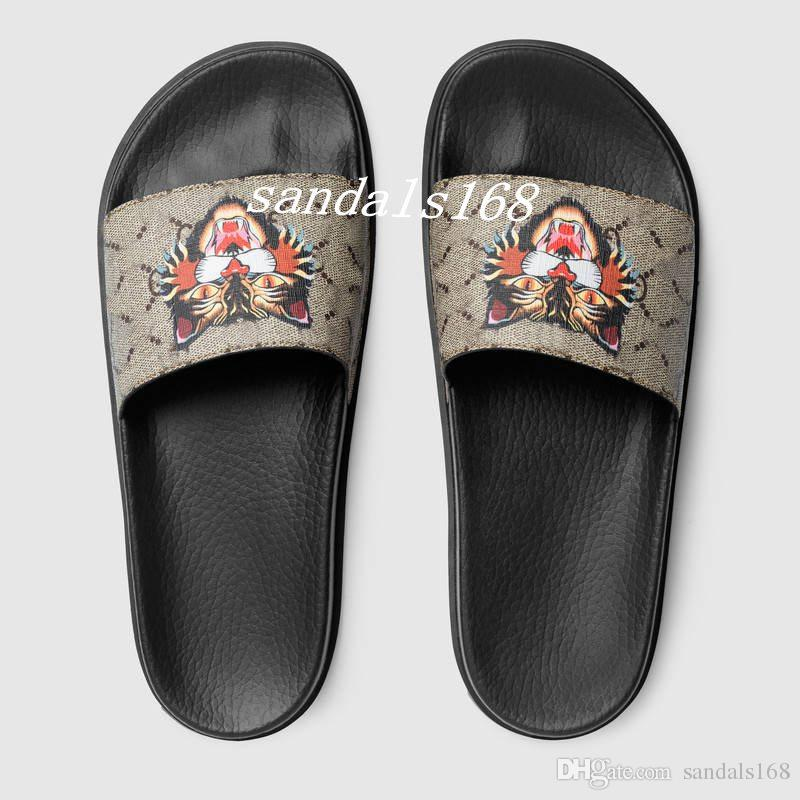 73dcb26c65af New Arrival Mens Fashion Angry Cat Patent Leather Slide Sandals Flip Flops  With Rubber Sole Dust Bags And Box Mens Boots Winter Boots From Sandals168