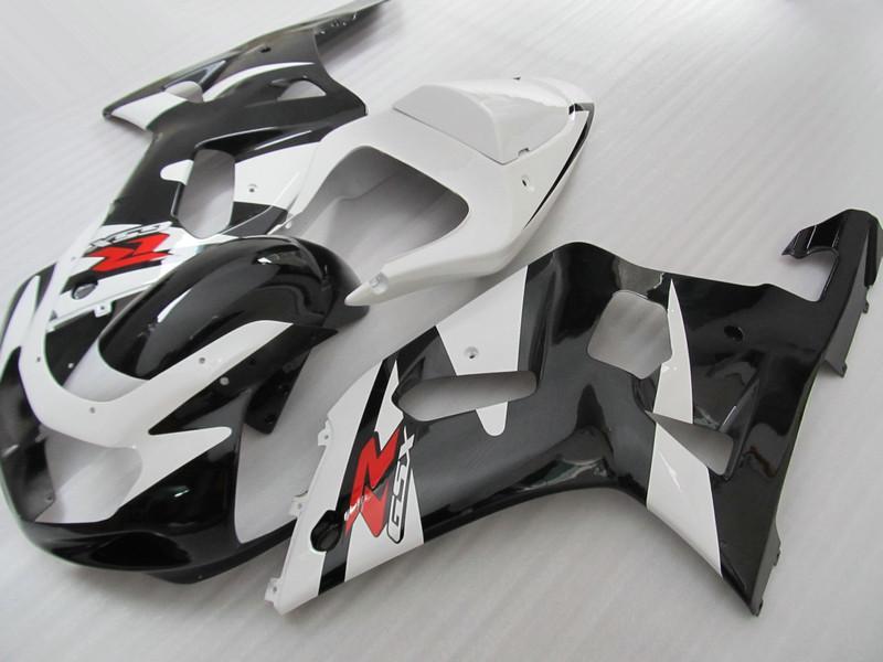 Hot Selling för Suzuki GSXR 600 750 00 01 02 03 FAIRING GSX-R600 R750 2001 2002 2003 Fairings Kits Vit Svart