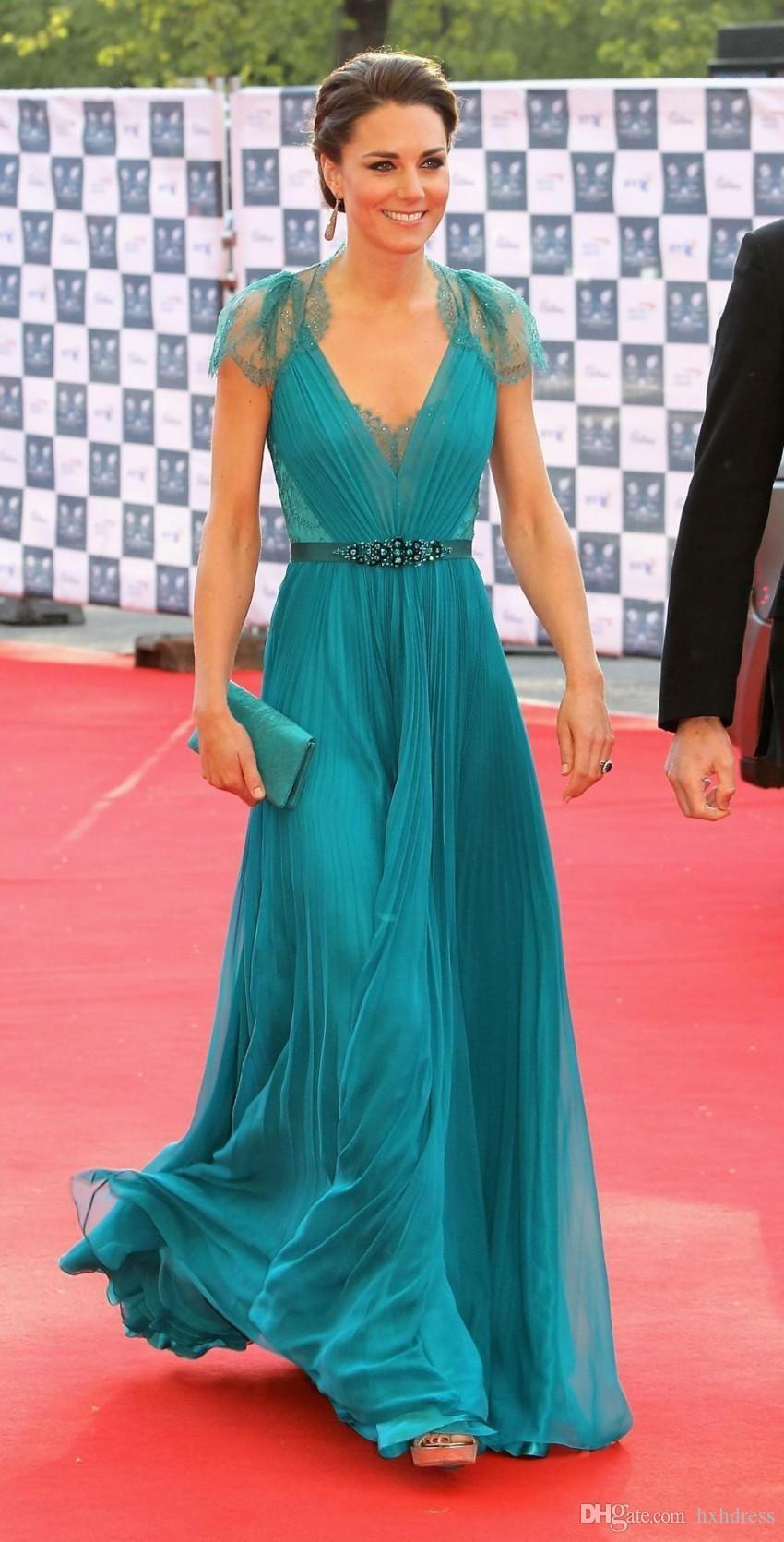 kap Kollu Abiye Giyim Örgün Ünlü Kırmızı Halı Elbiseleri Dantel şifon Elbise ile Jenny Packham Borda New Kate Middleton