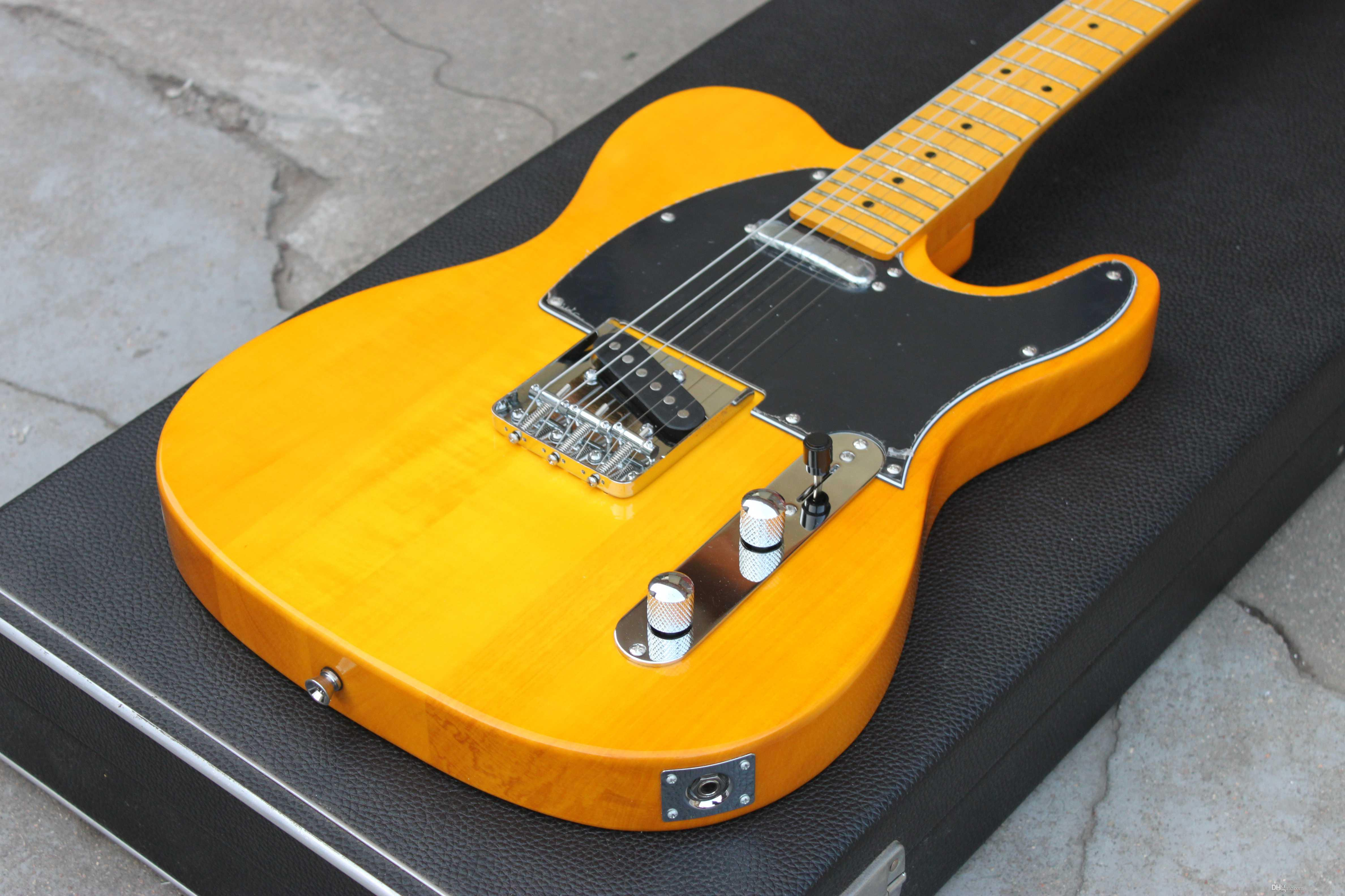 Custom Shop '52 American Deluxe Maple Telecaster Natural Tele Electric Guitar Butterscotch Blonde Black Pickguard Maple Neck Dot Inlay