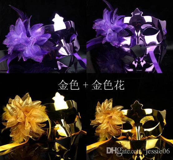 Fashion women flower feather mask Hallowmas lady children Venetian masquerade mask half metallic mask party event Christmas props gift