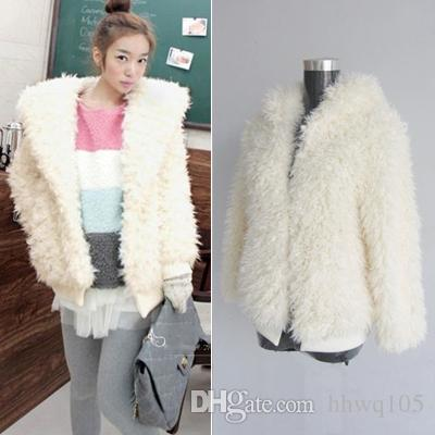 2017 Shaggy Faux Fur Hooded Coat Long Sleeve Casual Loose White ...
