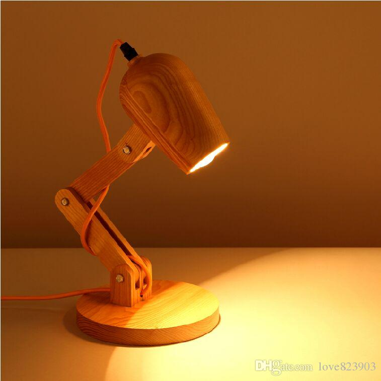 2018 Creative Desk Lamp Scandinavian Style Wood Table Lamp Wooden Desk  Lighting Modern Brief Led Bedside