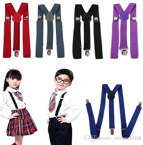 Kids Boy Girls Colores del caramelo Correas ajustables con clip Pantalones unisex Totalmente elástico Y-back Liguero cinturón Tirantes es Envío de la gota