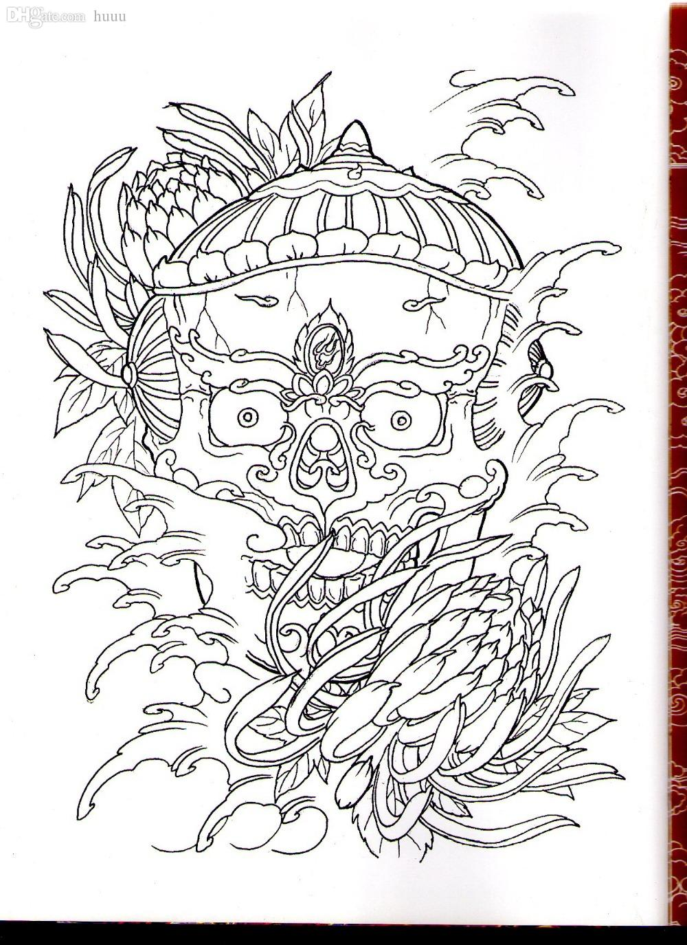 wholesale pdf format tattoo book traditional tattoo 73 pgs chinese ghost fairy tale skull tattoo flash tattoo designs sketch best airbrush paint compressor - Tattoo Coloring Book Pdf