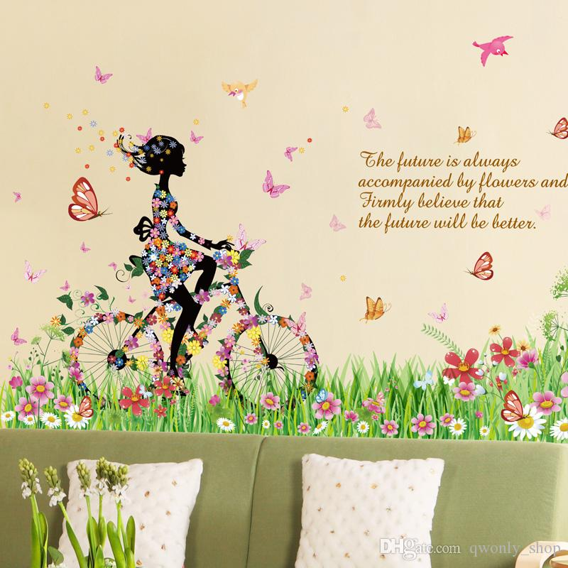 3D Butterfly Flower Romantic Wall Sticker Gorgeous Fairy Girl Riding Bike Spring Wedding Room DIY Home Removable Wall Decal