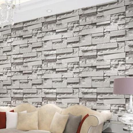 Vintage Natural 3D Wallpaper Grey Brick Stone Effect Wall Paper Rustic Realistic Vinyl Wallcoverings Style