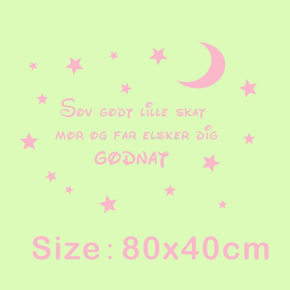 Danish Quotes Wall Art for Kids Rooms Decoration Wall Sticker Sleep Well Sweetheart Mom and Dad Love You Goodnight Moon Star