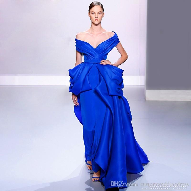 Fancy Trendy Ladies Dinner Ball Gown Abendkleider Lange Ballkleider Royal Blue Evening Dress To Night Prom Long Party Dresses
