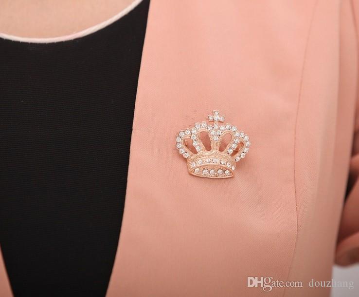 Vente chaude Couronne Croix Broche Shinning Cristal Clair Argent Plaqué Or Broche Broche Cadeau De Mode Bijoux