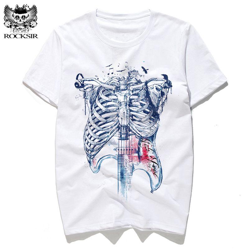 68188e10 Rocksir body is my guitar Music design print Summer men's T-shirts Cotton tee  shirt white tshirt men t