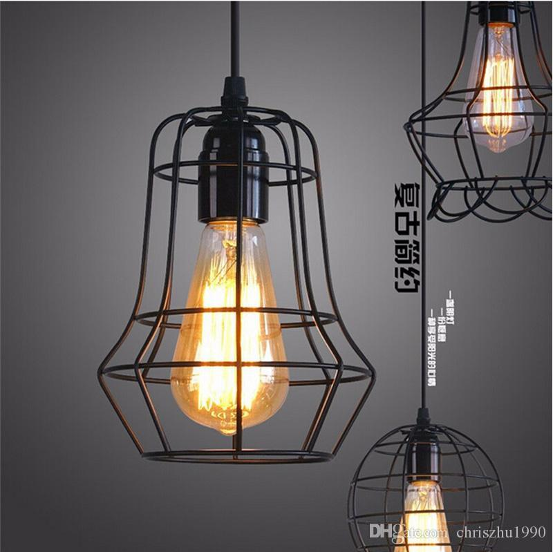 2016 new arrivals LOFT lamp Vintage pendant light LED light balck iron metal cage lampshade warehouse style lighting light fixture