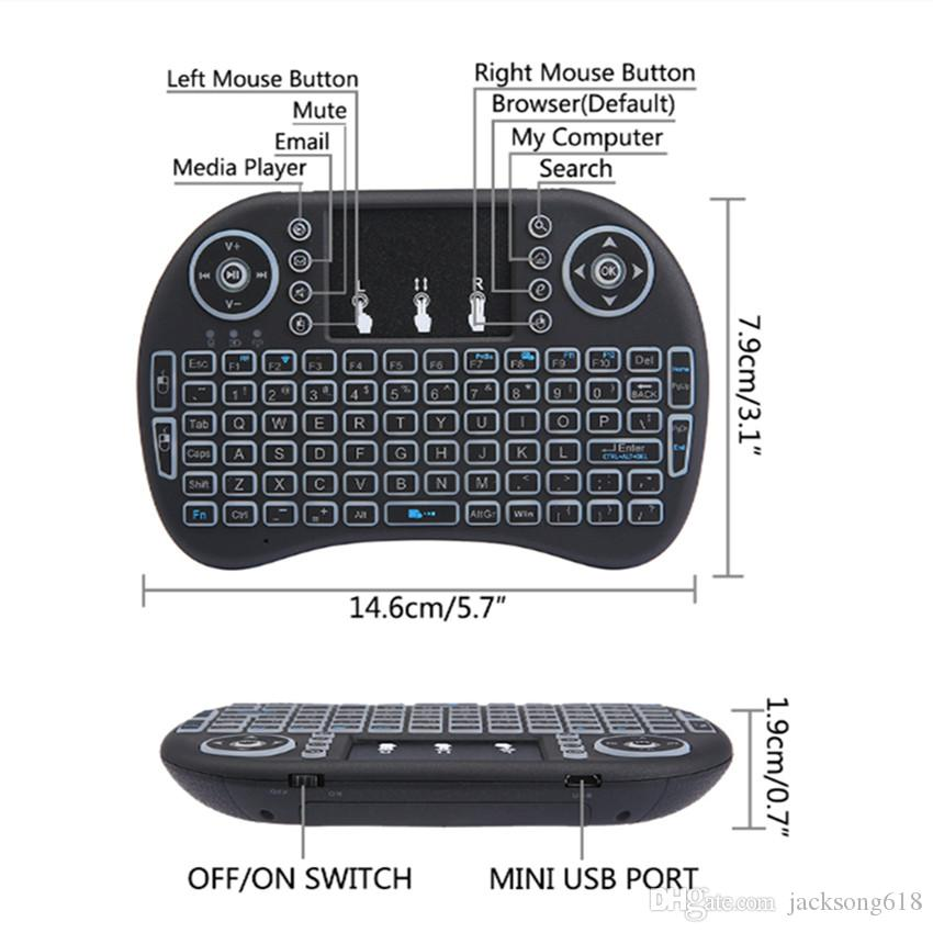 Hot Backlit i8 Mini Wireless Keyboard with Russian English Hebrew Spanish Air Mouse For Android TV BOX PC Laptop cheap keyboards