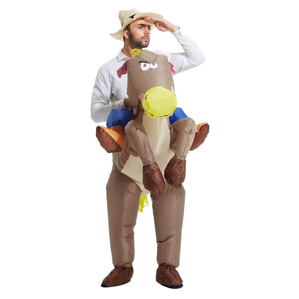 grosshandel 2017 topseller aufblasbare denim kleidung reiten ein pferd party lustige und lustige kostume unisex kinder tragen halloween karneval kostume von