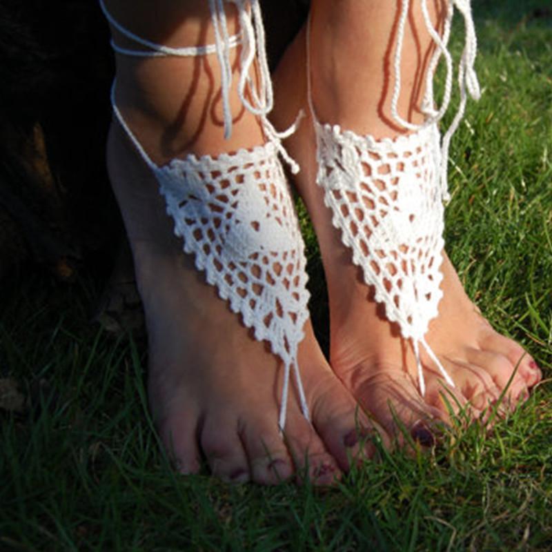 Compre Zapatos De La Playa Del Crochet Mujeres Sandalias Descalzas ...