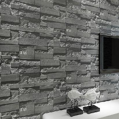 Modern Stacked Brick 3d Stone Wallpaper Roll Grey Brick