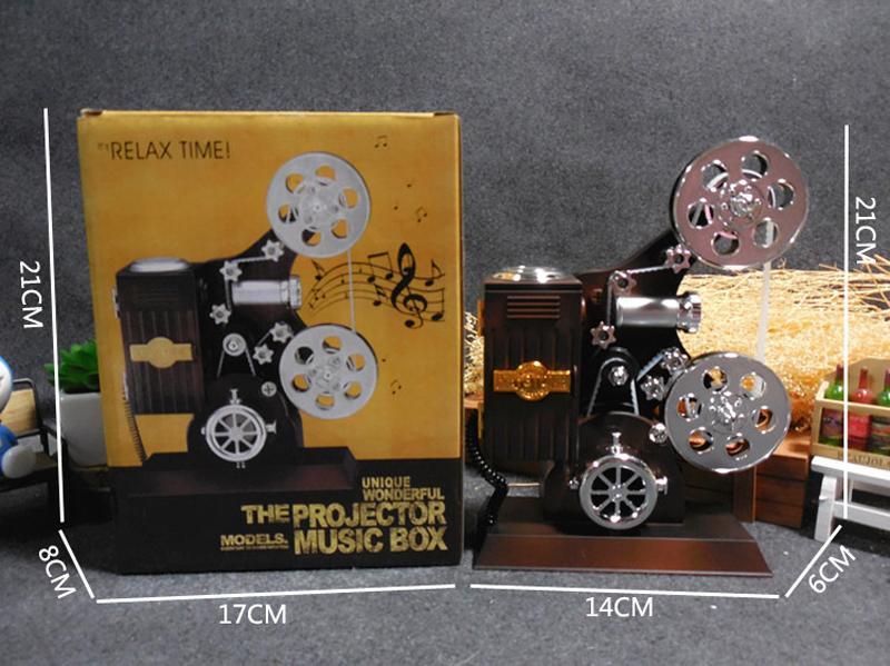 Vintage Projecteur Musical Bijoux Boîte De Rangement Grande Boîte À Musique Maison Carrousel Manivelle Boîte À Musique Boîte Créative Anniversaire Cadeau De Noël