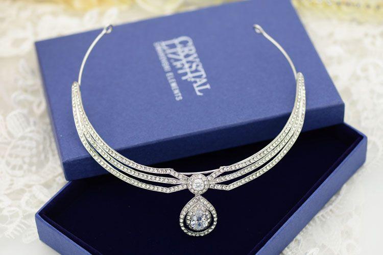 Shiny Crystal Princess Bridal Crowns Celebrity Velo da sposa Accessori capelli da sposa perline con strass Imperial Wedding Crowns