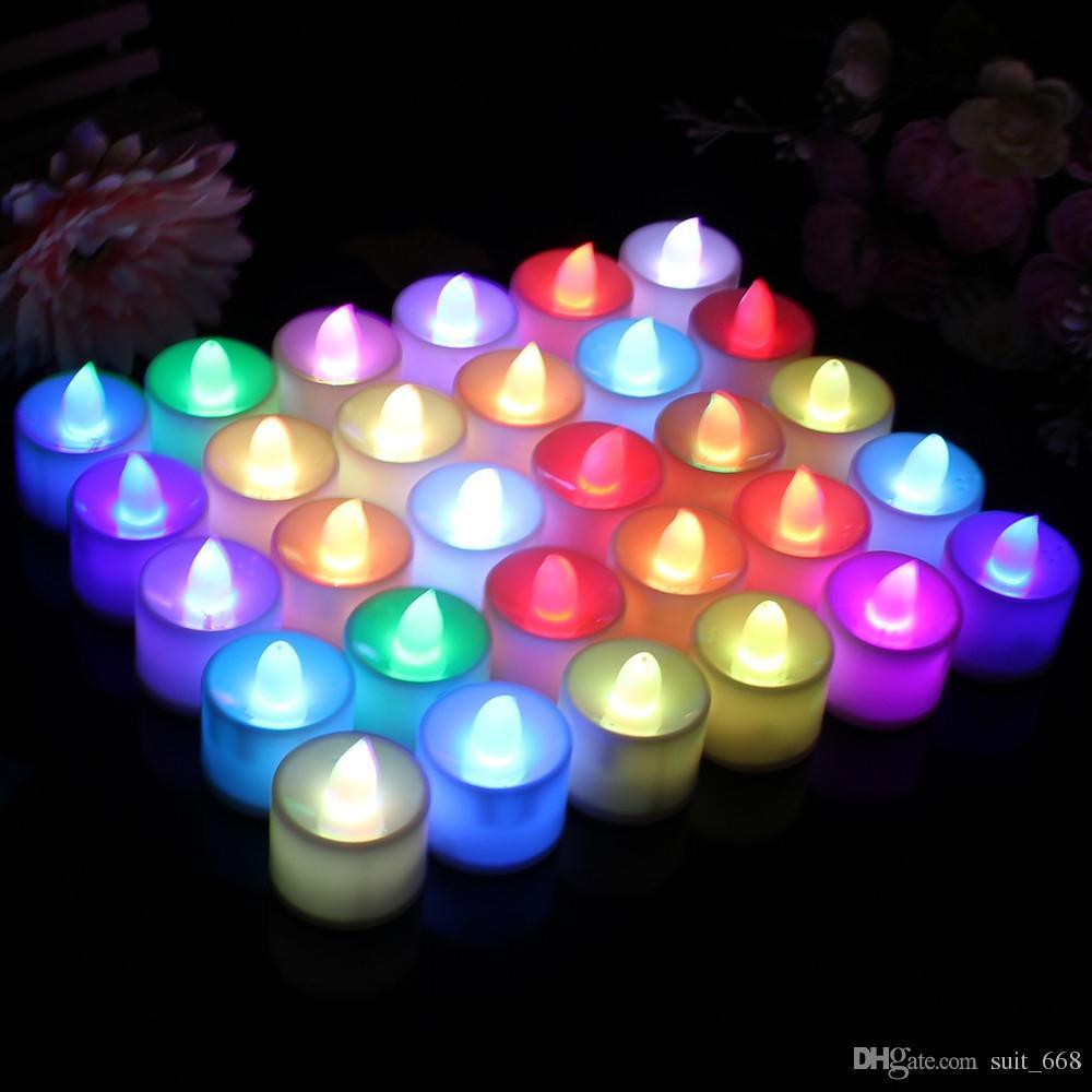 Şenlikli malzemeleri flaş LED elektronik simülasyon mum renkli kalp şeklinde mumlar romantik sürpriz evlilik teklifi mum ışığı emiss
