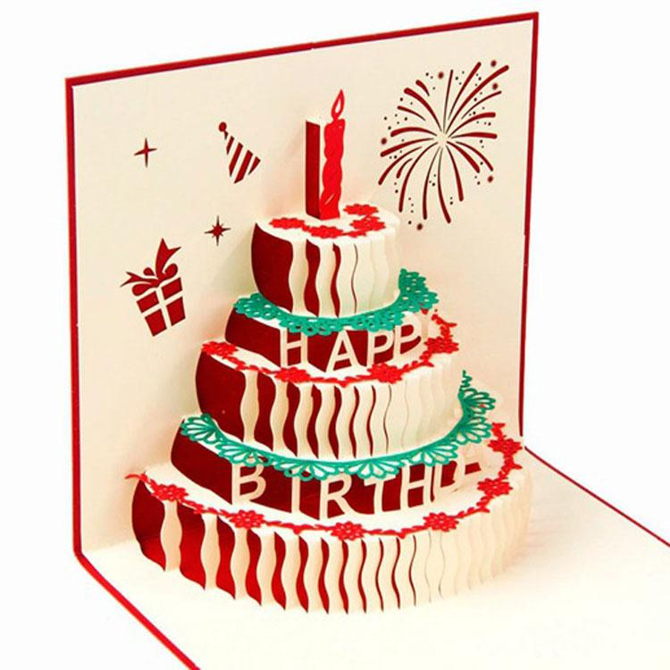 New Arrive Birthday Cake 3d Pop Up Gift Greeting 3d Blessing