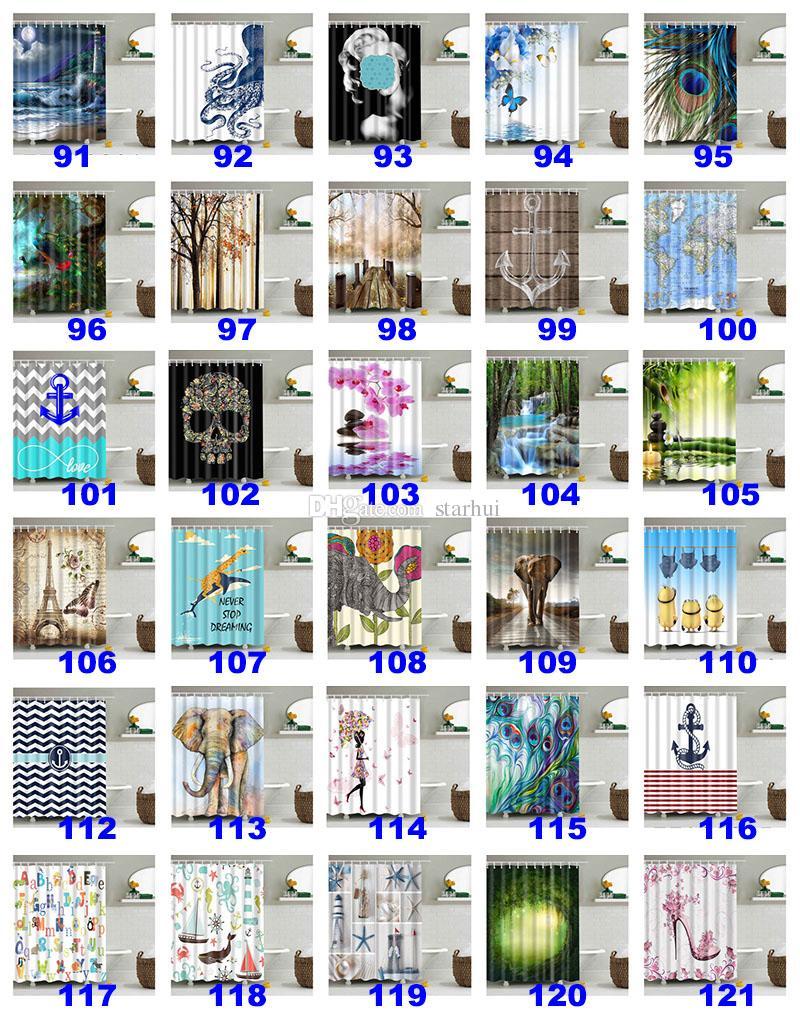 180 * 180 cm Noel Duş Perdeleri 3D Baskı Ağacı Plaj Kabuk Su Geçirmez Banyo Duş Perdesi Hooks WX9-143 Ile Dekorasyon