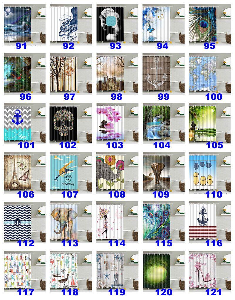 180 * 180cm 크리스마스 샤워 커튼 3D 인쇄 트리 비치 쉘 방수 욕실 샤워 커튼 장식 후크 WX9-143