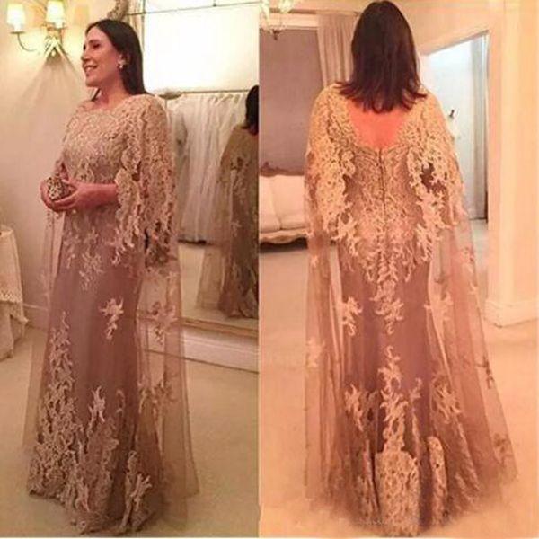 Plus Size robe formelle robes de soirée bateau cou dentelle appliques étage longueur tulle mère de la robe de mariée avec Cape Custom Made
