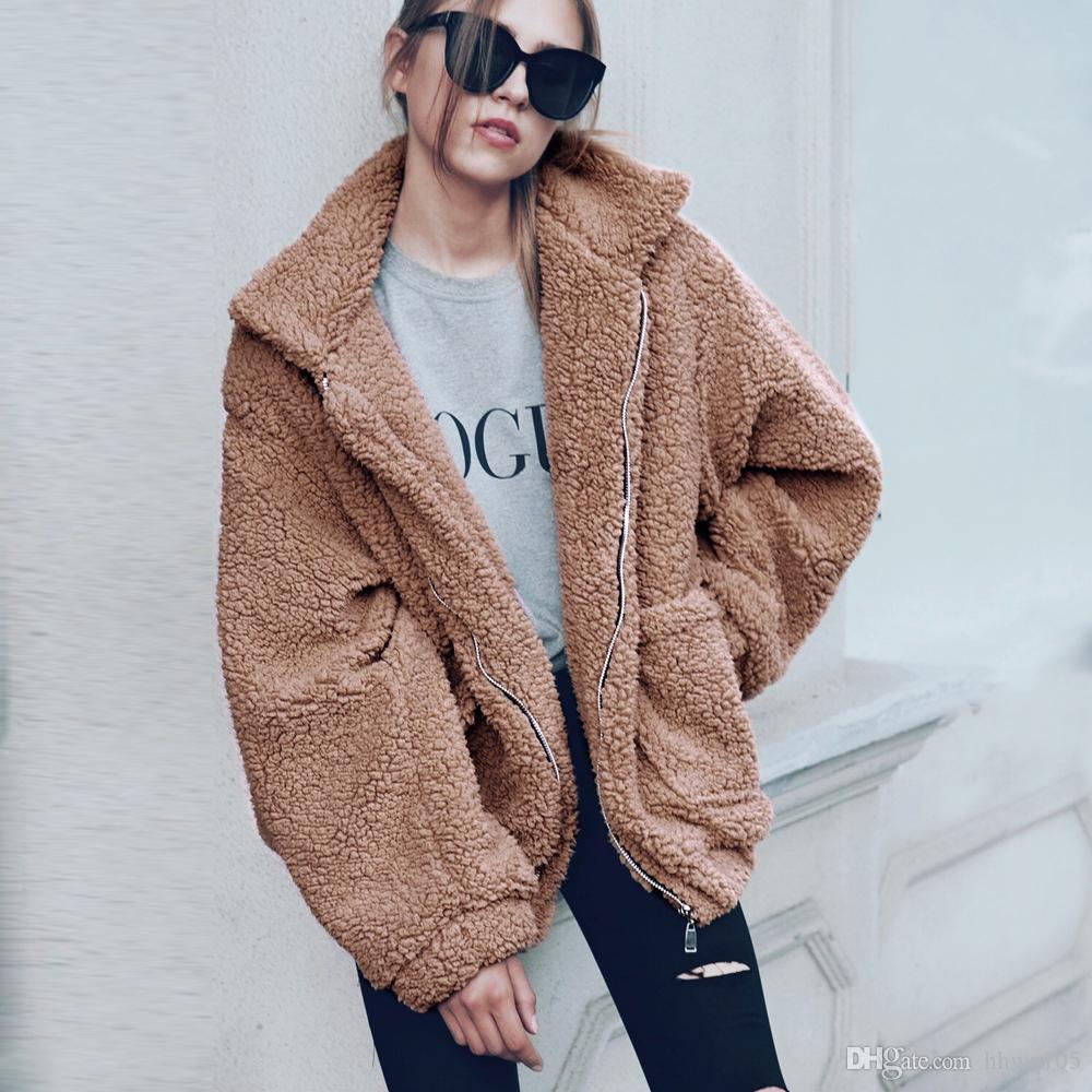 b70cccf7ab5 Women Oversized Wool Blend Jacket Long Sleeve Zip Up Casual Winter Coat  Girls Hip Hop Biker Jackets Fashion Faux Fur Parka Coats CJG1102 Quilted  Jacket Rain ...