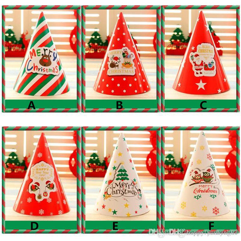 2017 new 1420cm christmas decorations holiday supplies cartoon christmas gift for kids white cardboard santa hats dhl christmas decorations wholesale - Large Cardboard Christmas Decorations