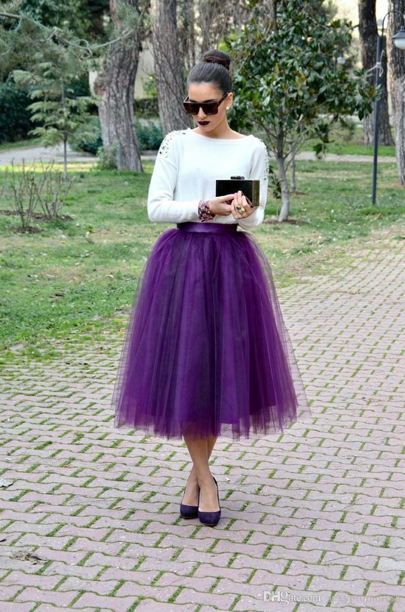 2015 viola metà polpaccio gonne di tulle su misura ball gown donne gonne molti strati abiti da festa economici gonne ragazze abiti da festa formale