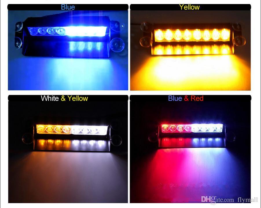 8 LED luci stroboscopiche ad alta potenza con ventose Pompiere Lampeggiante Luce di emergenza auto camion 8 LED Stroboscopiche auto Avviso di traino