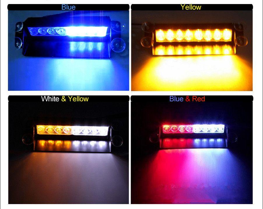 8 luzes estroboscópicas de alta potência LED com ventosas de bombeiro piscando luz caminhão de emergência de 8 LEDs estroboscópicas carro de luz de aviso