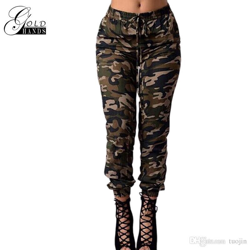 acheter de nouveaux plus grand choix de 2019 hot-vente plus récent Acheter Femmes Pantalons De Camouflage Impression Taille Haute Élastique  Pantalons Décontractés Femmes Militaire Pantalon Droit Femme Panneaux ...