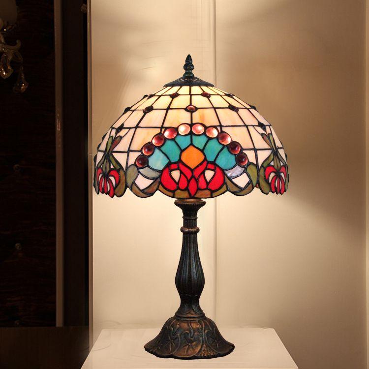 f92984f7fb2a glass tabletop lamp victorian jeweled tiffany table desk lamp luminaria  leaded glass lamp vintage study lamp decorative lighting