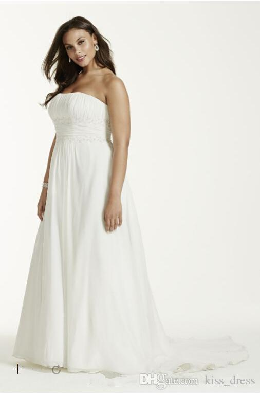 Plus Size Chiffon Empire Wedding Dresses Simple Style Sweep Train Pleats Beads Strapless A-Line Beach Bridal Gowns Robe De Mariage W710