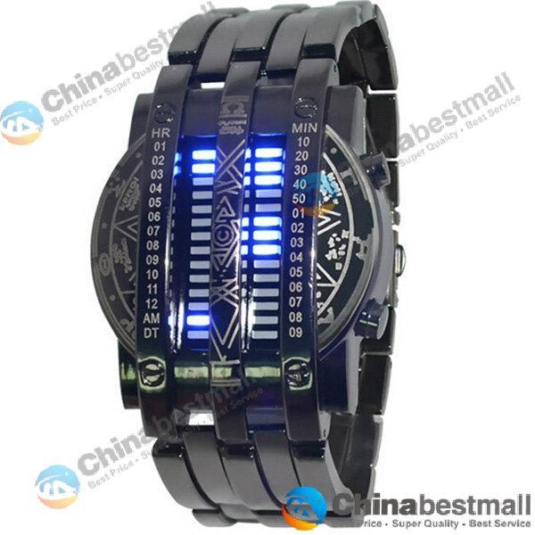 Fashion Personality Full Men Watch Steel Blue 28 LED Binary Military Bracelet Sports Watch Wristwatch Men's Watches Drop Shipping