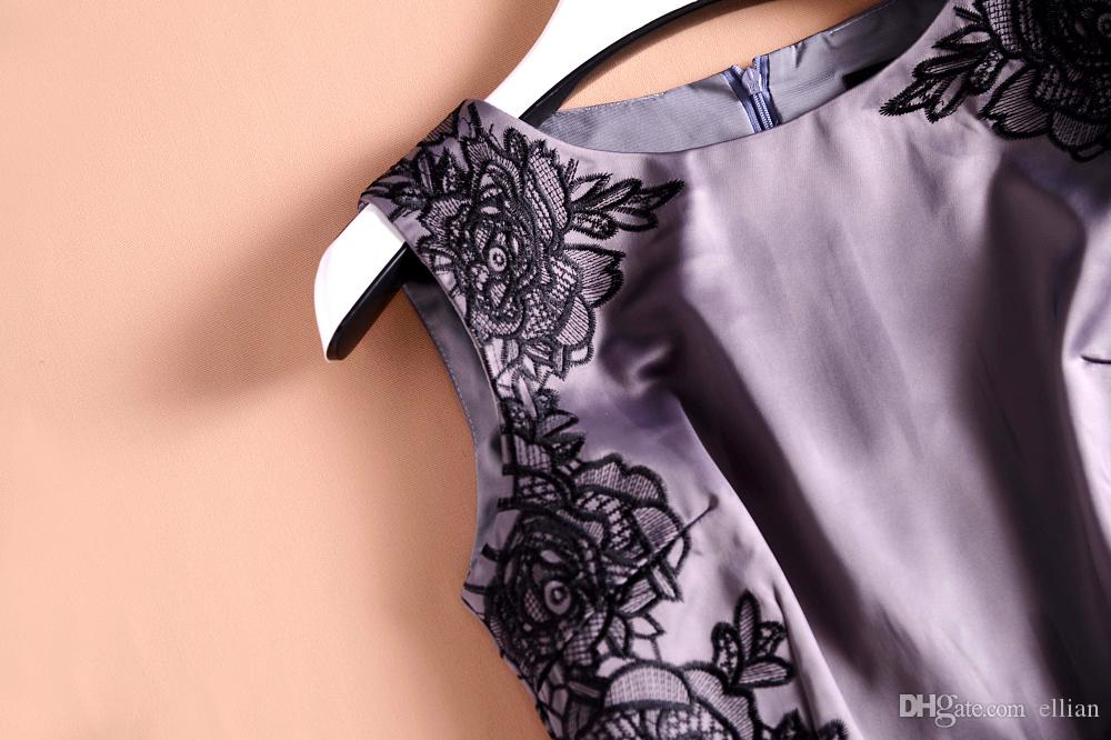 Вышивка Женщины Платье Оболочки Шею Платья Без Рукавов 1219092